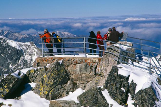 Mirador de Lomnicky Stit desde donde se ve los picos del Alto Tatra.